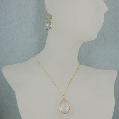 "Bezel Gemstone Tear Pendant Necklace & Earrings - Gold Plated - Crystal Quartz (16-24"")"