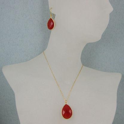 """Bezel Gemstone Tear Pendant Necklace & Earrings - Gold Plated - Carnelian (16-24"""")"""