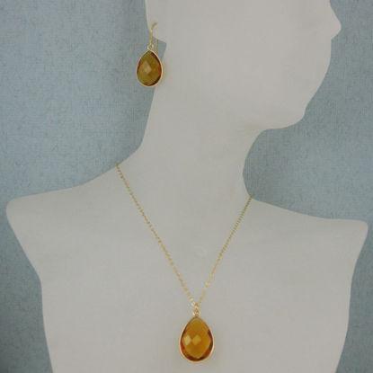 "Bezel Gemstone Tear Pendant Necklace & Earrings - Gold Plated - Citrine Quartz (16-24"")"