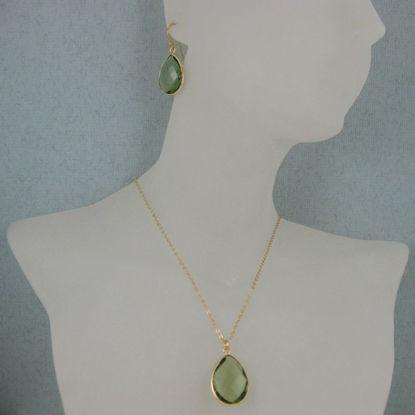 "Bezel Gemstone Tear Pendant Necklace & Earrings - Gold Plated - Green Amtheyst Quartz (16-24"")"