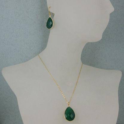 """Bezel Gemstone Tear Pendant Necklace & Earrings - Gold Plated - Green Onyx (16-24"""")"""