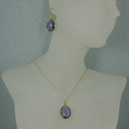 "Bezel Gemstone Tear Pendant Necklace & Earrings - Gold Plated - Iolite Quartz (16-24"")"