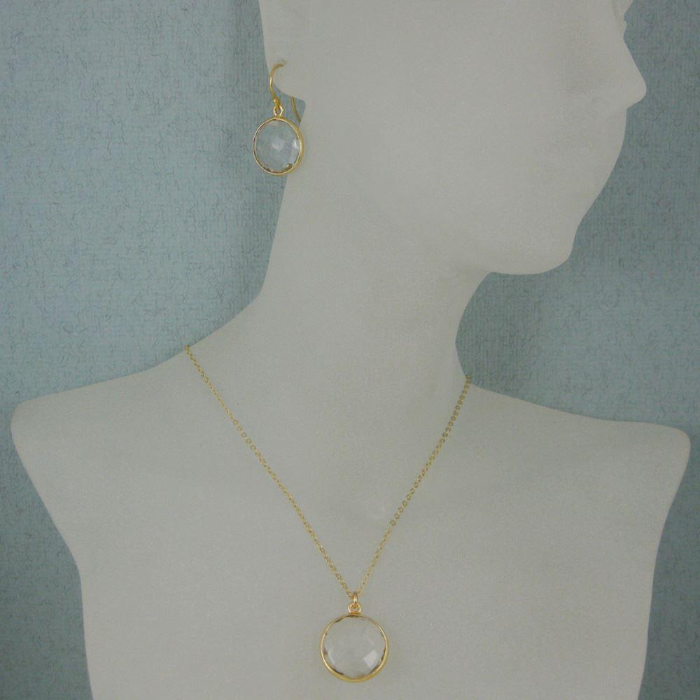 "Bezel Gemstone Round Pendant Necklace & Earrings-Gold Plated-Crystal Quartz (16-24"")"