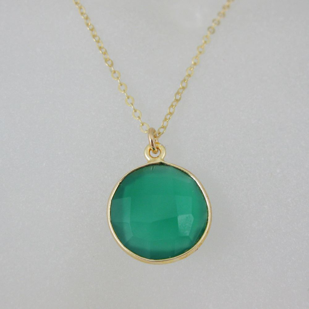 """Bezel Gemstone Round Pendant Necklace & Earrings-Gold Plated-Green Onyx (16-24"""")"""