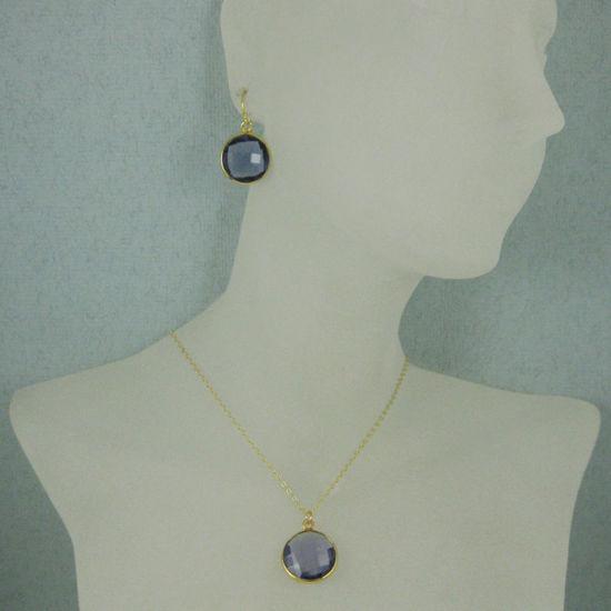 "Bezel Gemstone Round Pendant Necklace & Earrings-Gold Plated-Iolite Quartz (16-24"")"