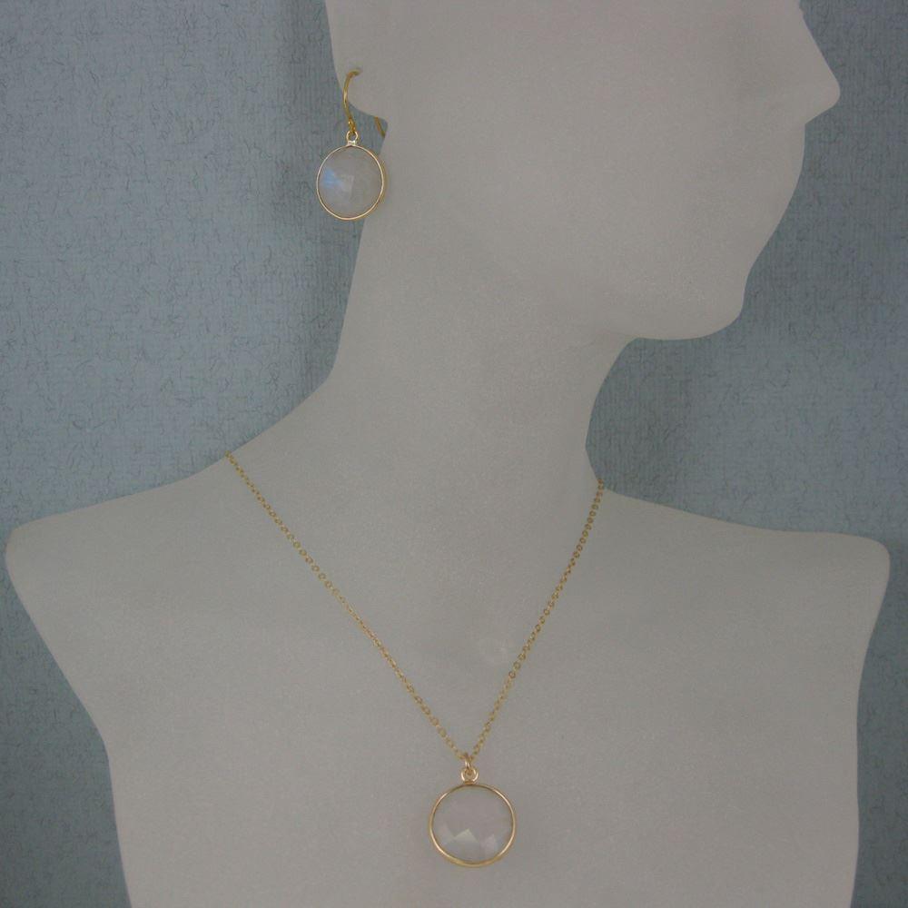 "Bezel Gemstone Round Pendant Necklace & Earrings-Gold Plated-Moonstone (16-24"")"