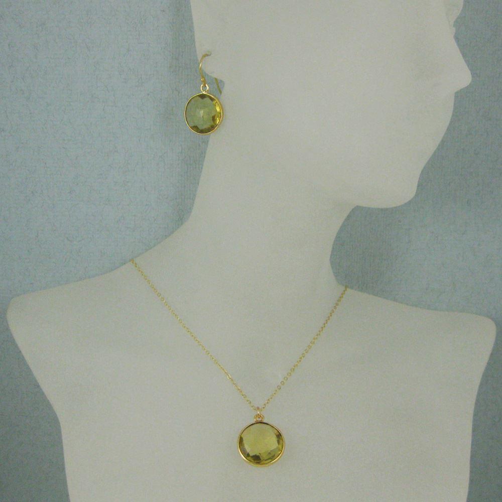 "Bezel Gemstone Round Pendant Necklace & Earrings-Gold Plated-Lemon Quartz (16-24"")"