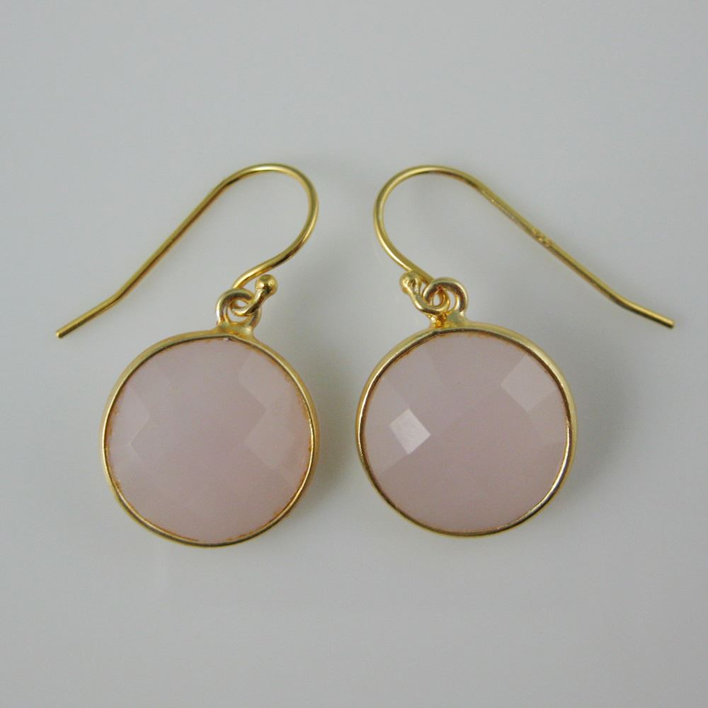 """ezel Gemstone Round Pendant Necklace & Earrings-Gold Plated-Pink Chalcedony (16-24"""")"""