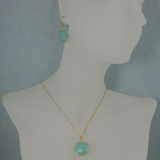 """Bezel Gemstone Round Pendant Necklace & Earrings-Gold Plated-Peru Chalcedony (16-24"""")"""