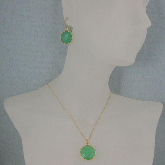 "Bezel Gemstone Round Pendant Necklace & Earrings-Gold Plated-Prenite Chalcedony (16-24"")"