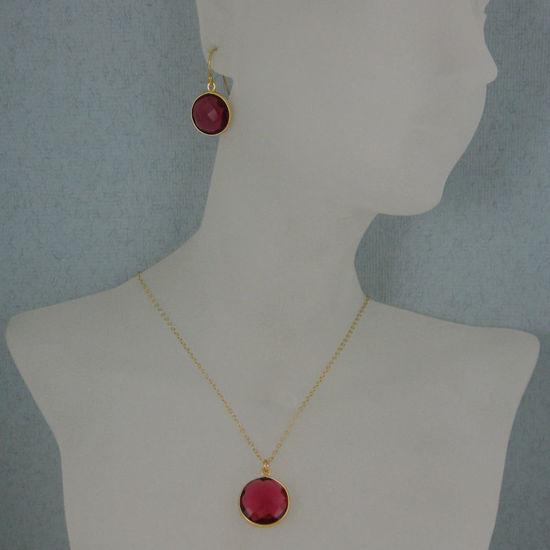 "Bezel Gemstone Round Pendant Necklace & Earrings-Gold Plated-Rubylite Quartz (16-24"")"