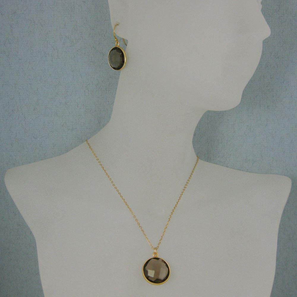 """Bezel Gemstone Round Pendant Necklace & Earrings-Gold Plated-Smokey Quartz (16-24"""")"""