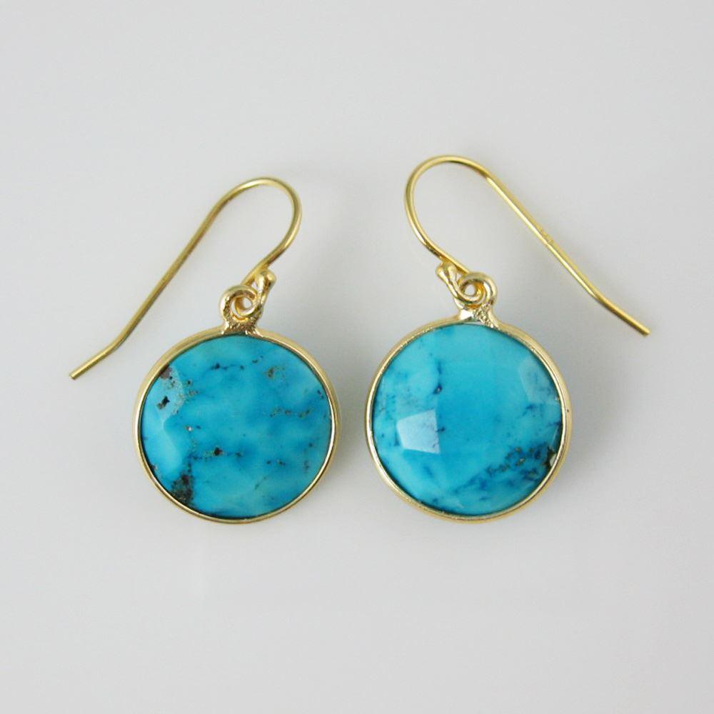 "Bezel Gemstone Round Pendant Necklace & Earrings-Gold Plated-Turquoise (16-24"")"