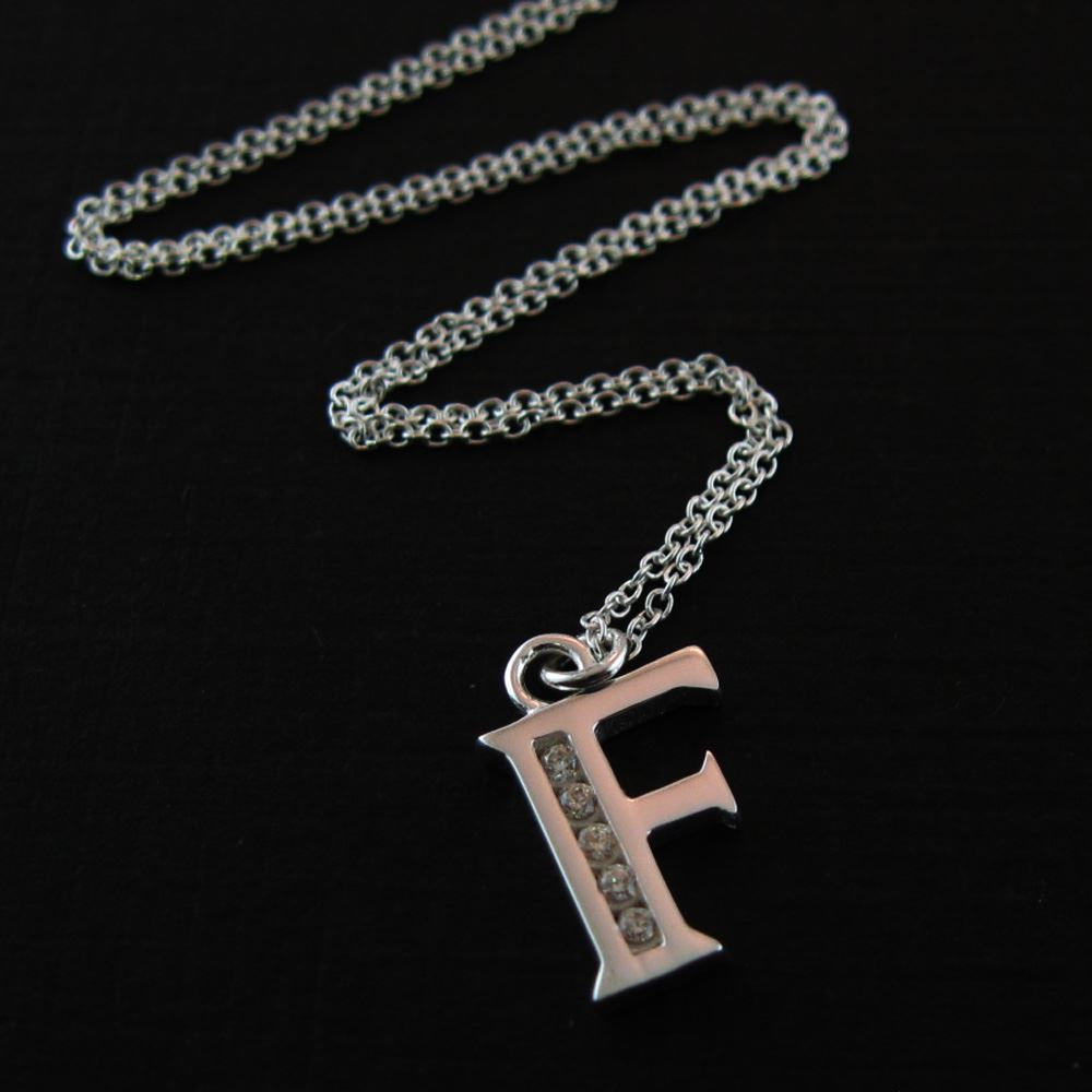 Sterling Silver Letter CZ Charm Necklace (16-24 inch)