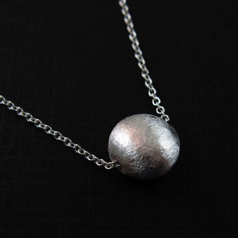 Sterling Silver 8mm Coin Shaped Textured Charm Pendant Necklace (16-24 inch)