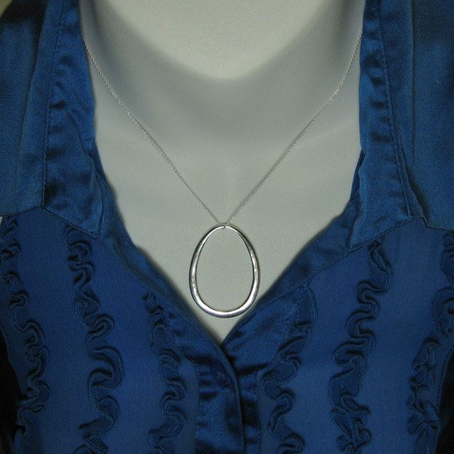 """925 Sterling Silver Necklace - Huge Oval Charm (16-24"""")"""