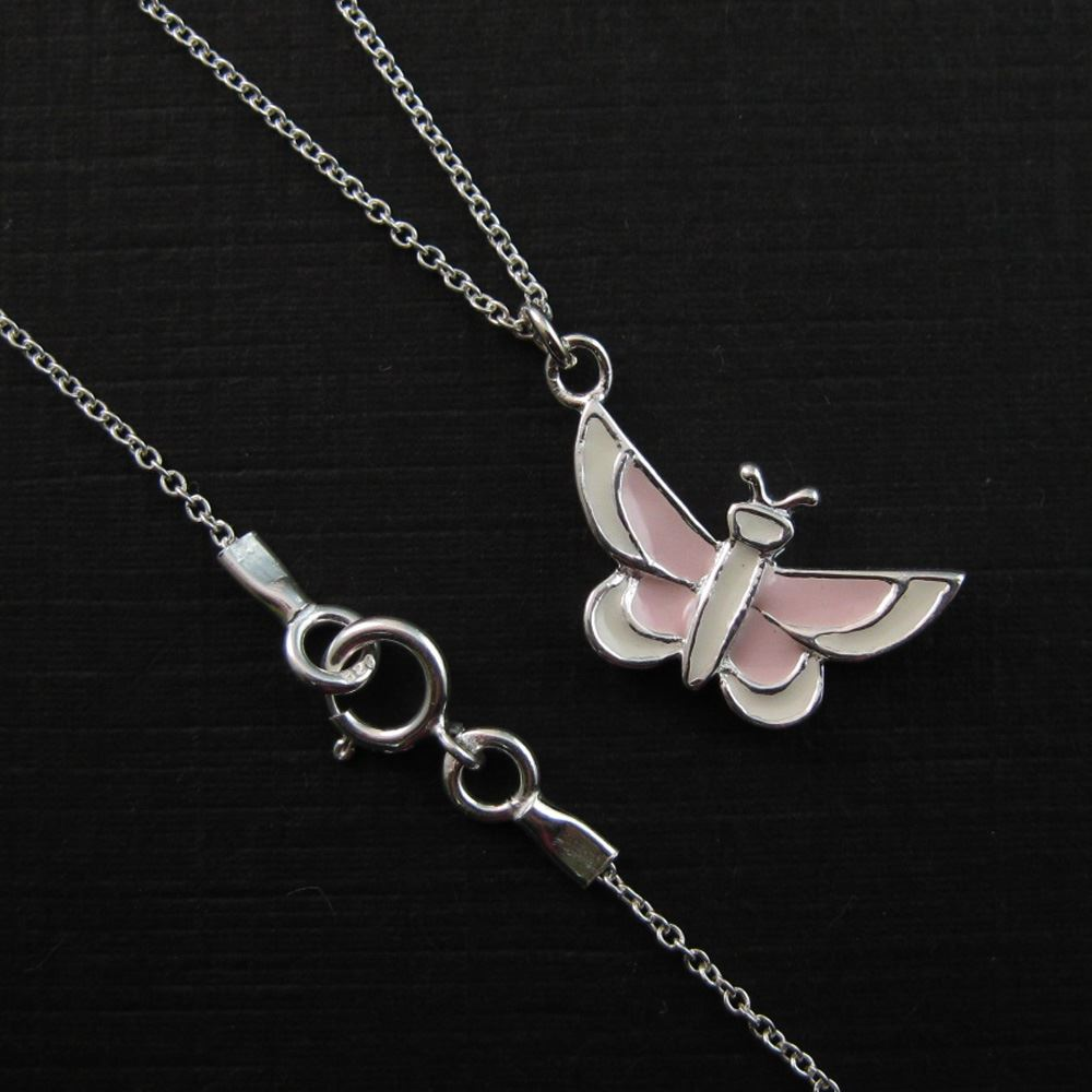 925 Sterling Silver Necklace- White and Pink Butterfly Charm Pendant Necklace (16-24 inch)