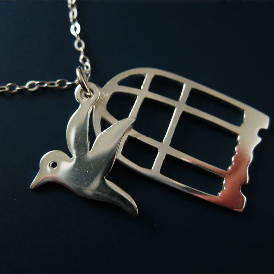 """.925 Sterling Silver Necklace - Bird In Cage Necklace (16-24"""")"""