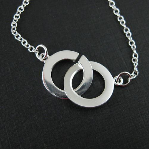 925 Sterling Silver Necklace with Double Toggle Rings. Two ways to wear (16-24 inches)