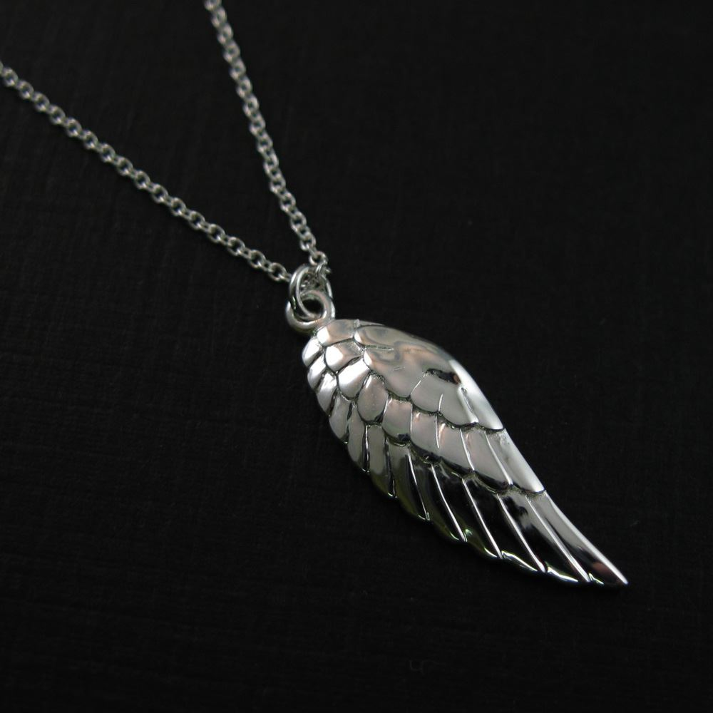 925 Sterling Silver Necklace- Left Wing Charm Pendant Necklace (16-24 inch)