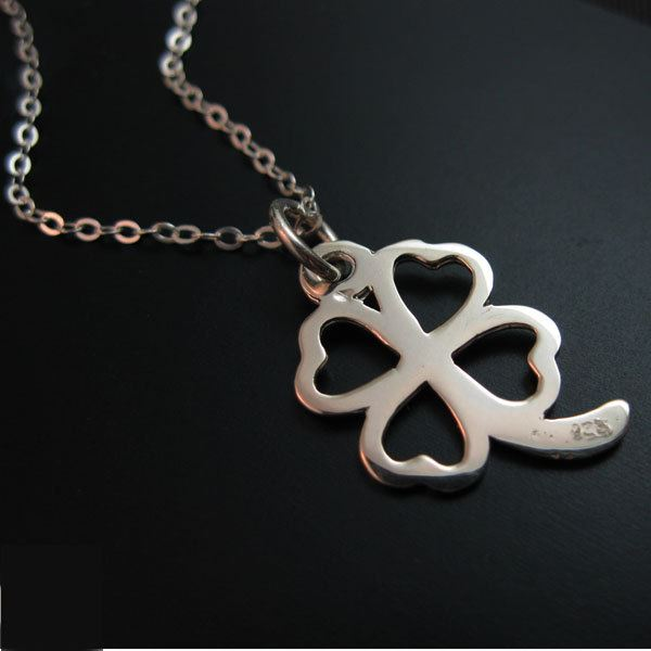 """925 Sterling Silver Necklace - Four Leaf Clover Charm Necklace (16-24"""")"""