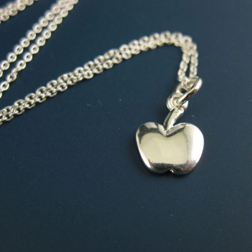 """925 Sterling Silver Necklace with Tiny Apple Charm Pendant (16-24"""")"""