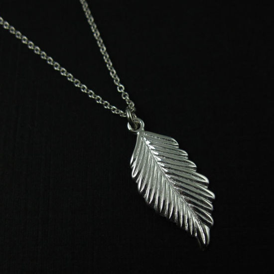 925 Sterling Silver Necklace- Feather Charm Pendant Necklace (16-24 inch)