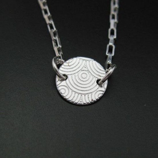 """925 Sterling Silver Necklace -Pendant, Choker, Sweet Tiny Disc (16-24"""")"""