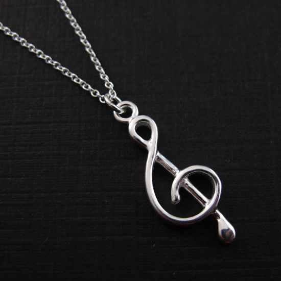 925 Sterling Silver Necklace-Music Note Charm Pendant Necklace (16-24 inch)