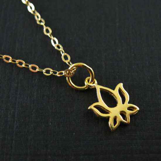 Vermeil 18K Gold Plated over Sterling Silver Lotus Charm Necklace (16-24 inch)