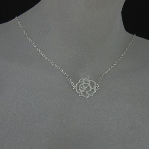 """925 Sterling Silver Necklace with Sweet Rose Pendant (16-24"""")"""