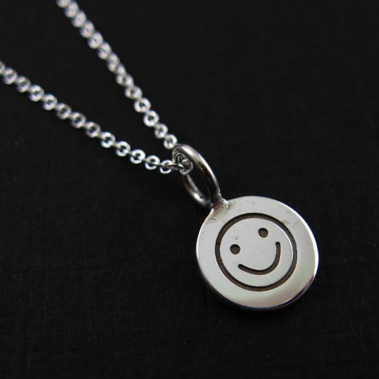 925 Sterling Silver Necklace-Happy Face Charm Pendant Necklace (16-24 inch)