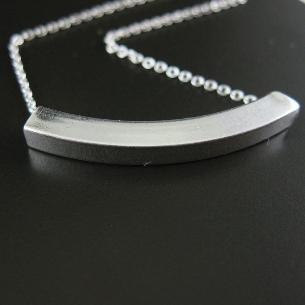 """925 Sterling Silver Necklace - Square Curve Tube Charm (16-24"""")"""