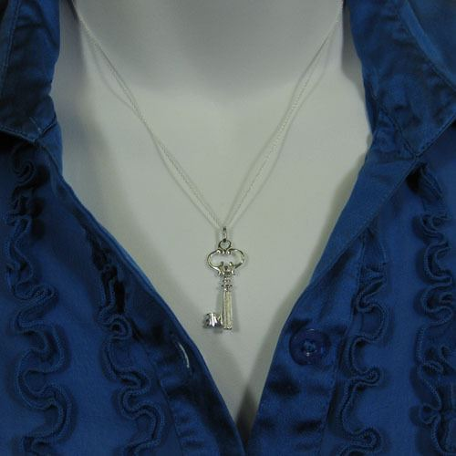 """925 Sterling Silver Necklace- Pendant, Large Key Charm ( 16-24"""")"""