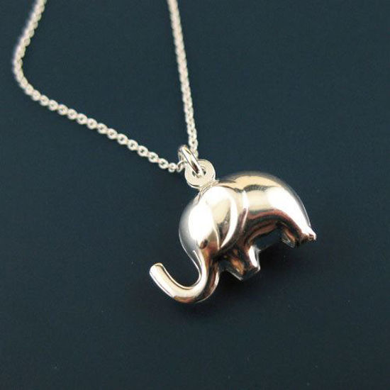 """925 Sterling Silver Necklace, Elephant Charm Necklace (16-24"""")"""