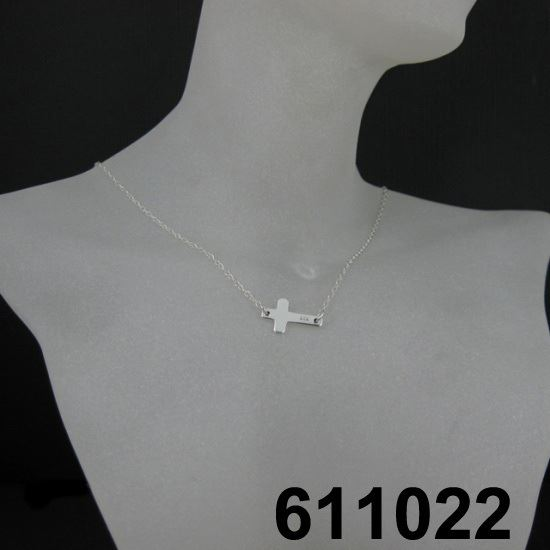 "925 Sterling Silver Necklace- Sideways Cross Charm Pendant (16-24"")"