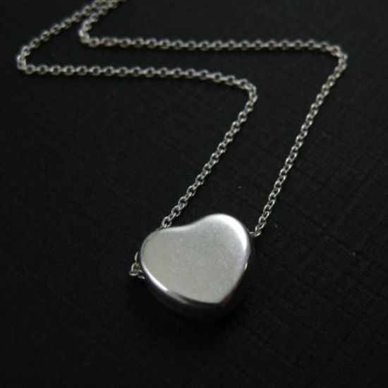 """925 Sterling Silver Necklace with Thick Little Sweet Heart Pendant (16-24"""")"""