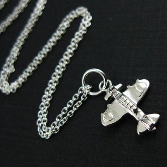 """925 Sterling Silver Necklace with Airplane Charm Pendant (16-24"""")"""