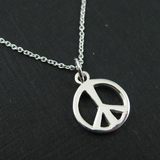 """925 Sterling Silver Necklace - Thick Peace Charm Necklace (16-24"""")"""