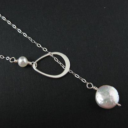 925 Sterling Silver Necklace-Pearl,Fresh Water Pearls,Teardrop Charm, Lariat,Necklace