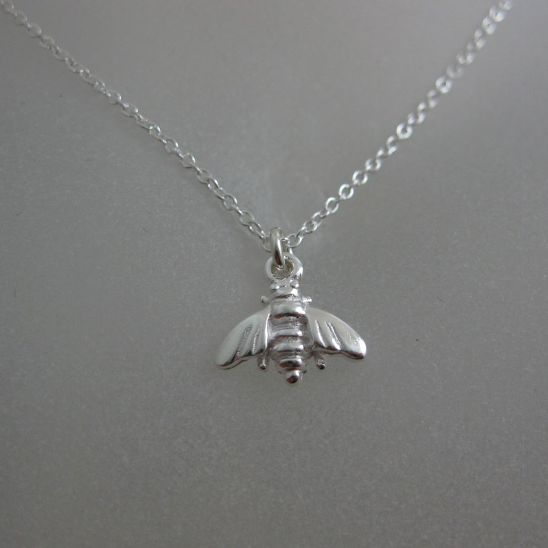 """925 Sterling Silver Necklace- Bumblebee Charm Pendant (16-24"""")"""