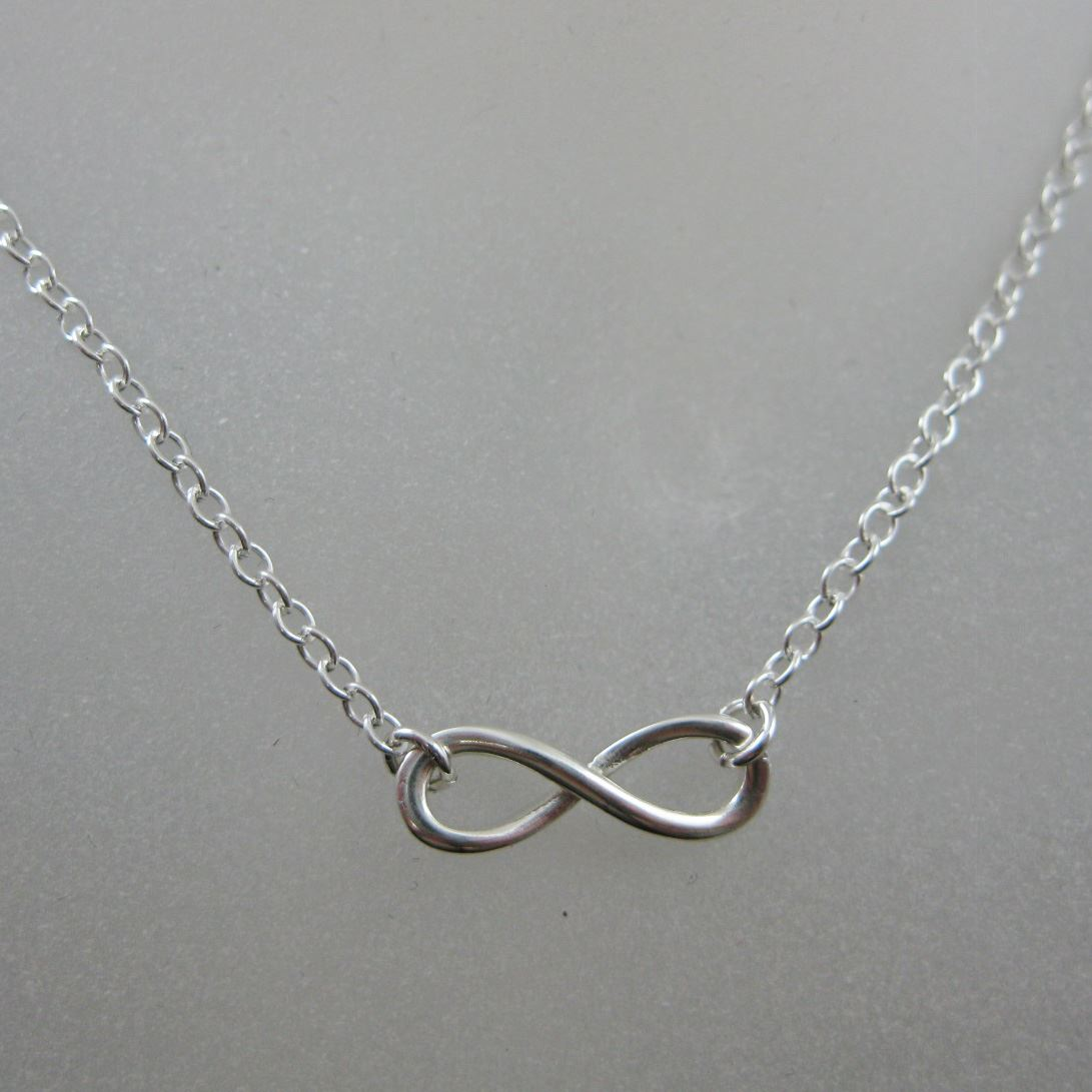 925 Sterling Silver Smooth Infinty Charm Pendant Necklace (16-24 inch)