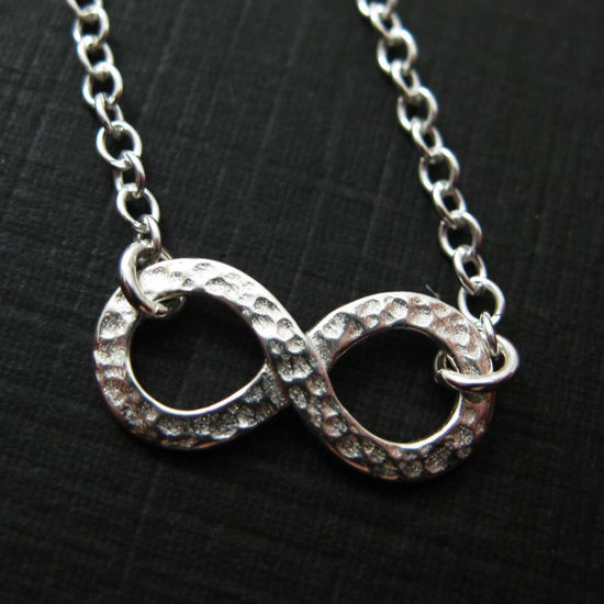 925 Sterling Silver Hammered Infinity Charm Pendant Necklace (16-24 inch)