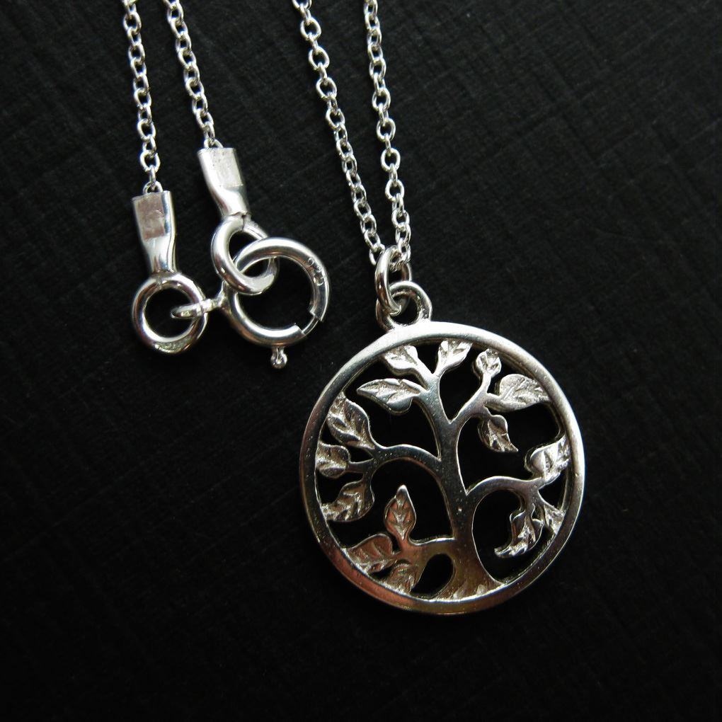 925 Sterling Silver Tree with leaves Charm Pendant Necklace (16-24 inch)