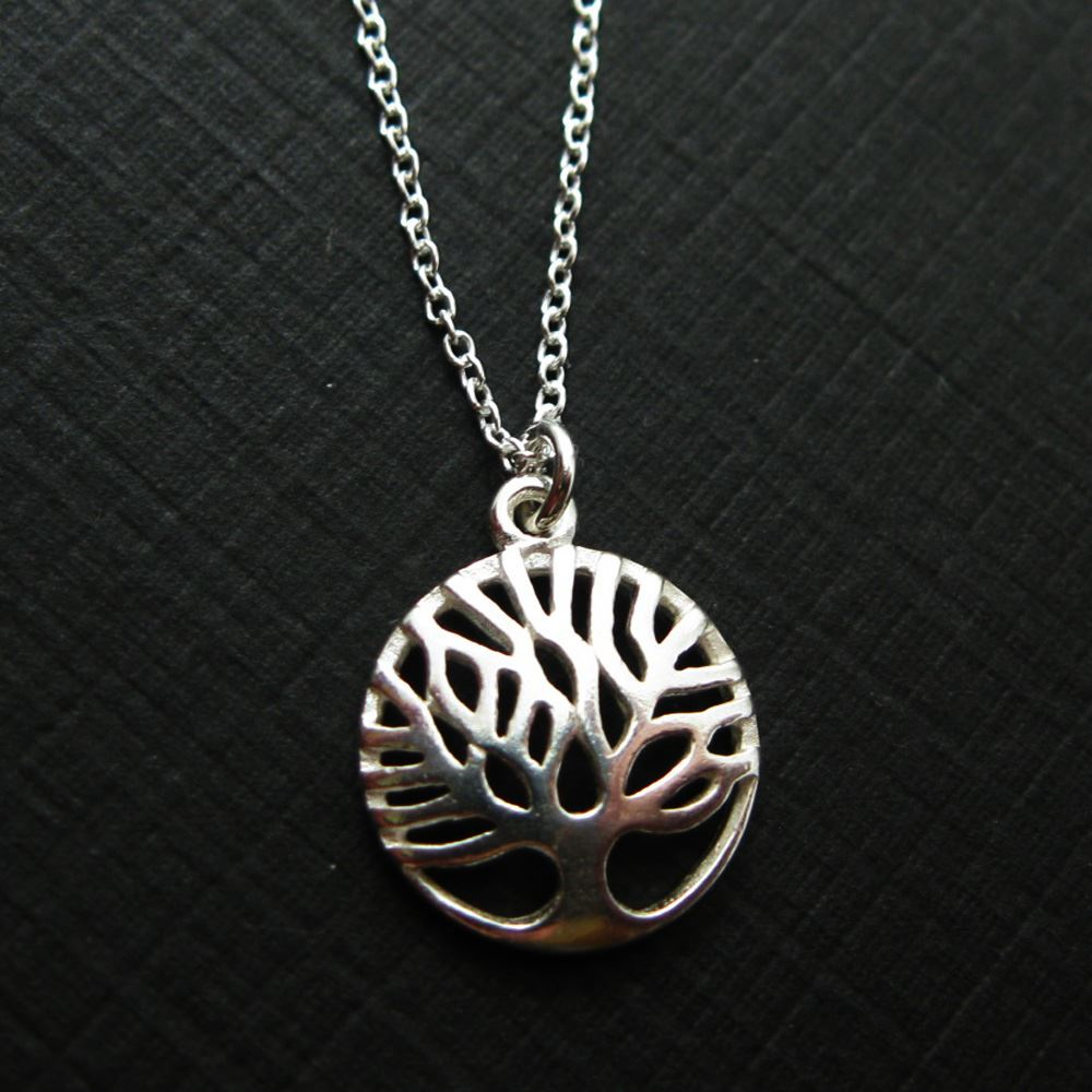 925 Sterling Silver Tree of Life Charm Pendant Necklace (16-24 inch)