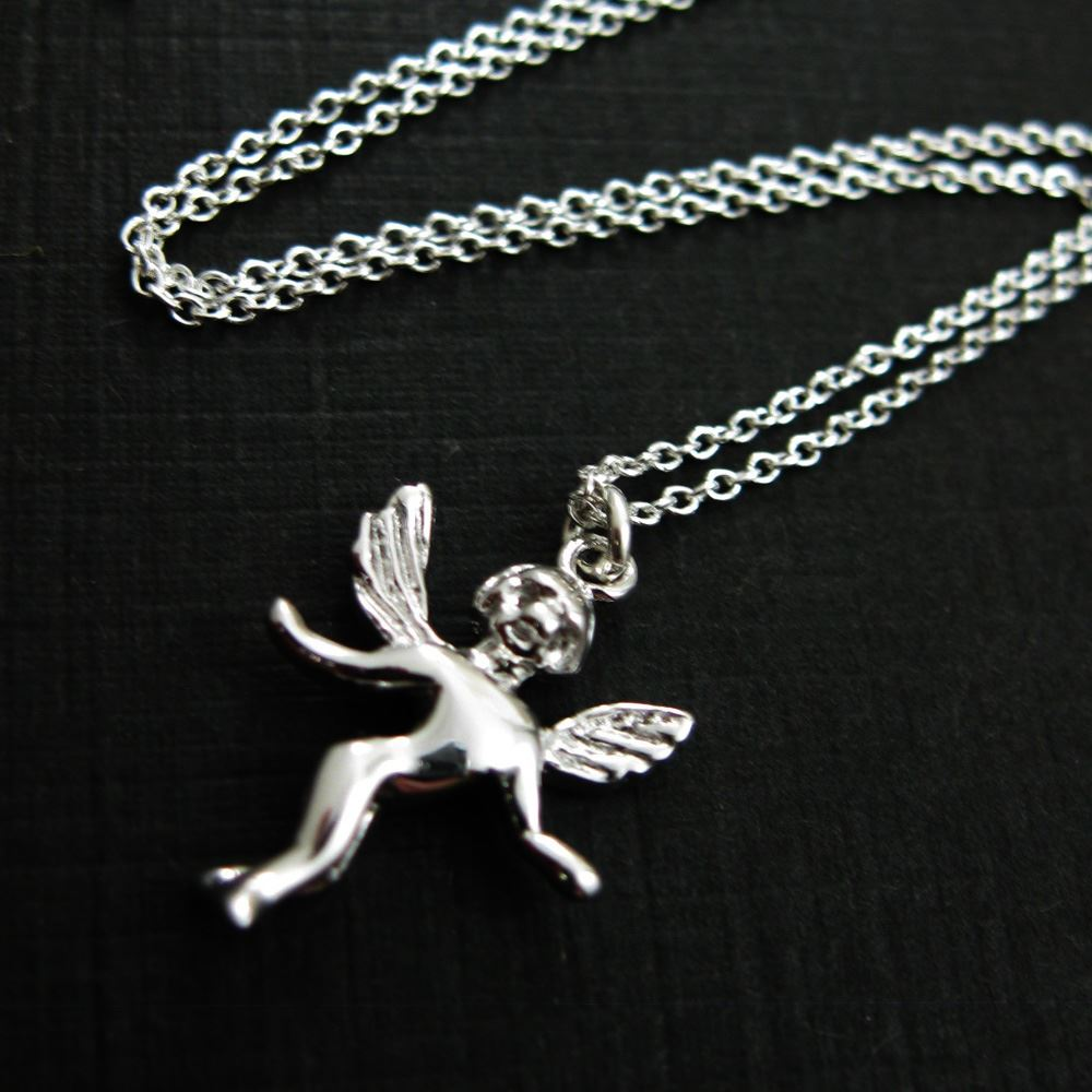 925 Sterling Silver Angel Charm Pendant Necklace (16-24 inch)