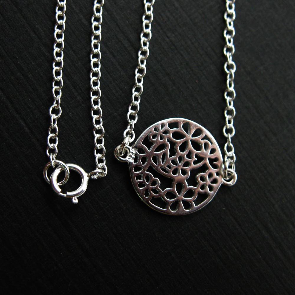 925 Sterling Silver Necklace- Round Flower Connector- (16-24 inches)