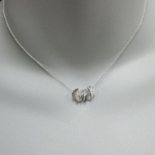 925 Sterling Silver Necklace with Wavy Disc Pendant (16-24 inches)