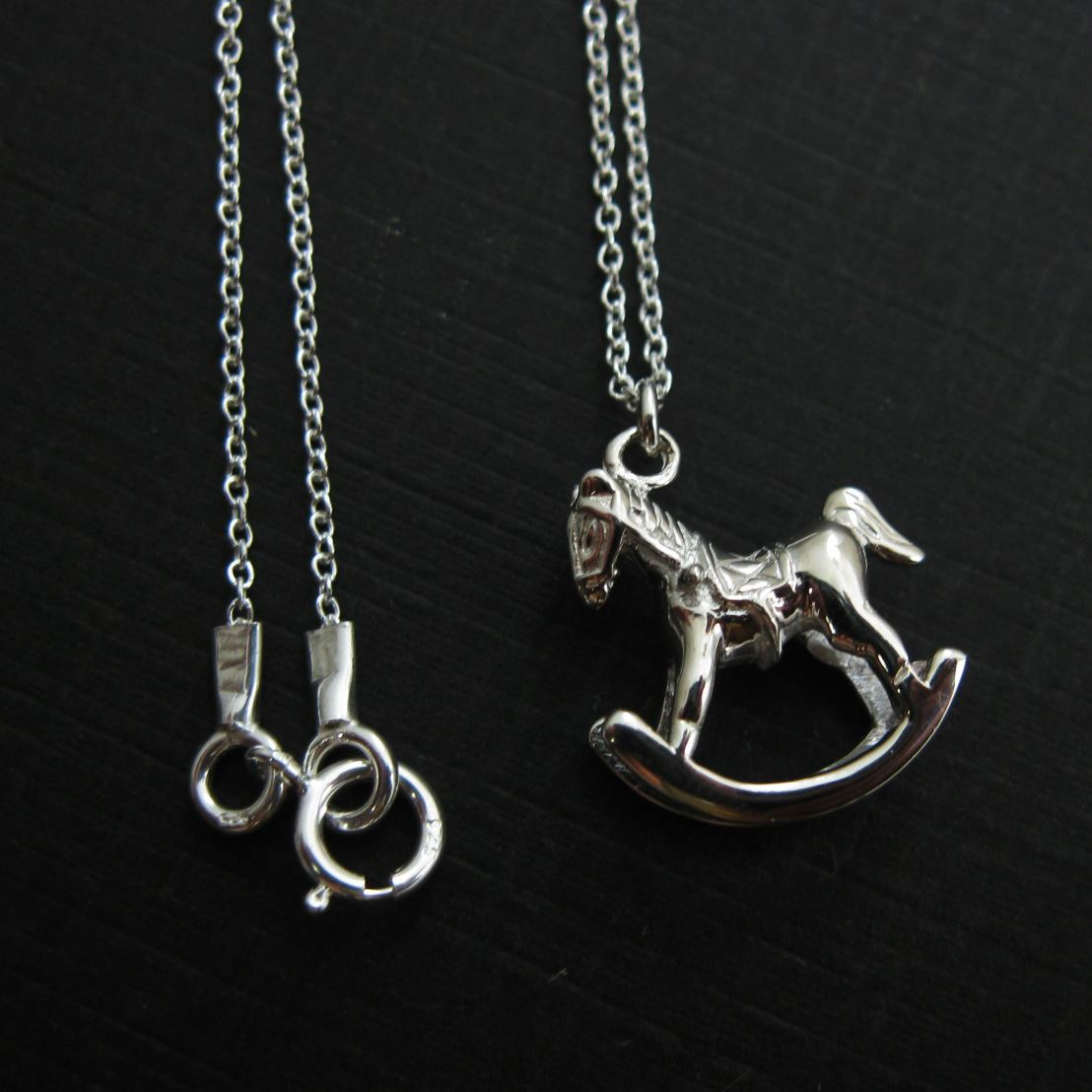 925 Sterling Silver Rockinghorse Charm Pendant Necklace (16-24 inches)