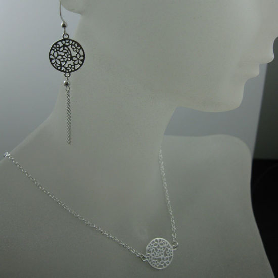 925 Sterling Silver Jewelry Set- Round Flower Connector